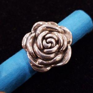 Vintage Sterling Silver Rose 3D Ring